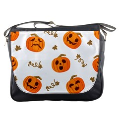 Funny Spooky Halloween Pumpkins Pattern White Orange Messenger Bag by HalloweenParty
