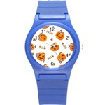 Funny Spooky Halloween Pumpkins Pattern White Orange Round Plastic Sport Watch (S) Front