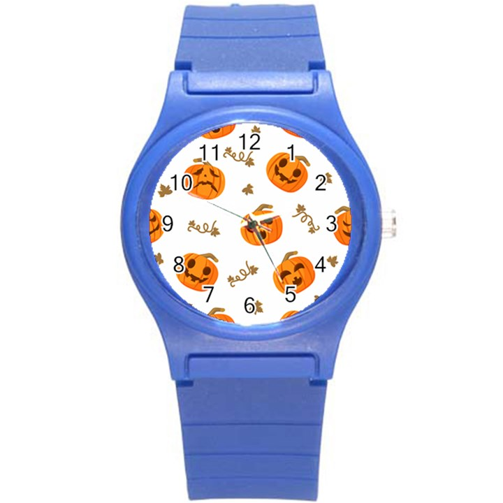 Funny Spooky Halloween Pumpkins Pattern White Orange Round Plastic Sport Watch (S)