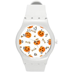 Funny Spooky Halloween Pumpkins Pattern White Orange Round Plastic Sport Watch (m) by HalloweenParty