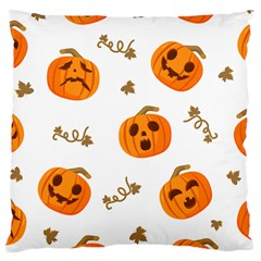 Funny Spooky Halloween Pumpkins Pattern White Orange Large Cushion Case (two Sides)