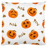 Funny Spooky Halloween Pumpkins Pattern White Orange Large Cushion Case (Two Sides) Front