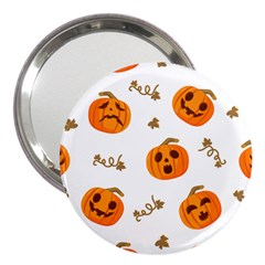 Funny Spooky Halloween Pumpkins Pattern White Orange 3  Handbag Mirrors by HalloweenParty
