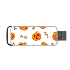 Funny Spooky Halloween Pumpkins Pattern White Orange Portable Usb Flash (two Sides)