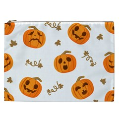 Funny Spooky Halloween Pumpkins Pattern White Orange Cosmetic Bag (xxl)