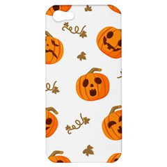 Funny Spooky Halloween Pumpkins Pattern White Orange Apple Iphone 5 Hardshell Case by HalloweenParty
