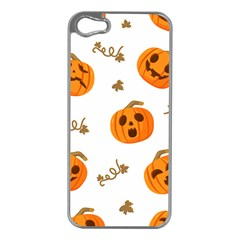 Funny Spooky Halloween Pumpkins Pattern White Orange Apple Iphone 5 Case (silver)
