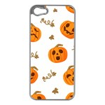 Funny Spooky Halloween Pumpkins Pattern White Orange Apple iPhone 5 Case (Silver) Front