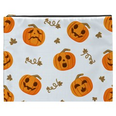 Funny Spooky Halloween Pumpkins Pattern White Orange Cosmetic Bag (xxxl)