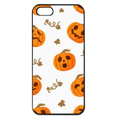 Funny Spooky Halloween Pumpkins Pattern White Orange Apple Iphone 5 Seamless Case (black) by HalloweenParty