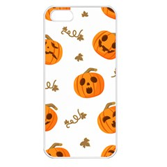 Funny Spooky Halloween Pumpkins Pattern White Orange Apple Iphone 5 Seamless Case (white)