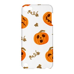 Funny Spooky Halloween Pumpkins Pattern White Orange Apple Ipod Touch 5 Hardshell Case
