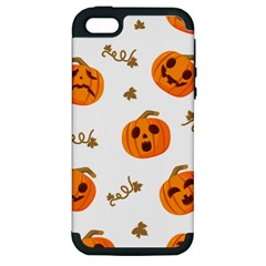 Funny Spooky Halloween Pumpkins Pattern White Orange Apple Iphone 5 Hardshell Case (pc+silicone)