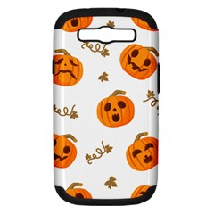 Funny Spooky Halloween Pumpkins Pattern White Orange Samsung Galaxy S Iii Hardshell Case (pc+silicone)