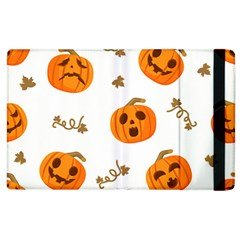 Funny Spooky Halloween Pumpkins Pattern White Orange Apple Ipad 3/4 Flip Case