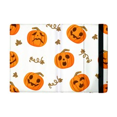 Funny Spooky Halloween Pumpkins Pattern White Orange Apple Ipad Mini Flip Case