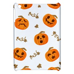 Funny Spooky Halloween Pumpkins Pattern White Orange Apple Ipad Mini Hardshell Case