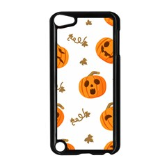 Funny Spooky Halloween Pumpkins Pattern White Orange Apple Ipod Touch 5 Case (black)
