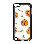 Funny Spooky Halloween Pumpkins Pattern White Orange Apple iPod Touch 5 Case (Black) Front