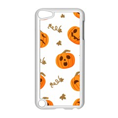 Funny Spooky Halloween Pumpkins Pattern White Orange Apple Ipod Touch 5 Case (white)