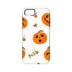 Funny Spooky Halloween Pumpkins Pattern White Orange Apple Iphone 5 Classic Hardshell Case (pc+silicone)
