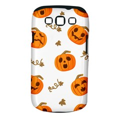 Funny Spooky Halloween Pumpkins Pattern White Orange Samsung Galaxy S Iii Classic Hardshell Case (pc+silicone)