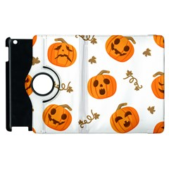 Funny Spooky Halloween Pumpkins Pattern White Orange Apple Ipad 2 Flip 360 Case