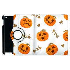 Funny Spooky Halloween Pumpkins Pattern White Orange Apple Ipad 3/4 Flip 360 Case