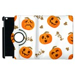 Funny Spooky Halloween Pumpkins Pattern White Orange Apple iPad 3/4 Flip 360 Case Front