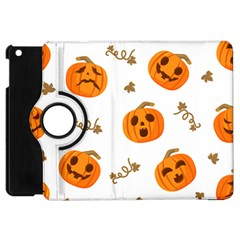 Funny Spooky Halloween Pumpkins Pattern White Orange Apple Ipad Mini Flip 360 Case