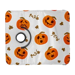 Funny Spooky Halloween Pumpkins Pattern White Orange Samsung Galaxy S  Iii Flip 360 Case