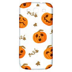 Funny Spooky Halloween Pumpkins Pattern White Orange Samsung Galaxy S3 S Iii Classic Hardshell Back Case