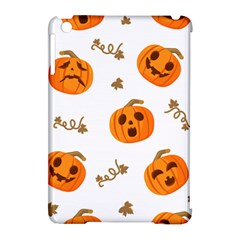 Funny Spooky Halloween Pumpkins Pattern White Orange Apple Ipad Mini Hardshell Case (compatible With Smart Cover)
