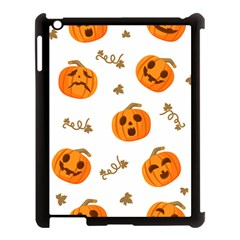 Funny Spooky Halloween Pumpkins Pattern White Orange Apple Ipad 3/4 Case (black)