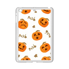Funny Spooky Halloween Pumpkins Pattern White Orange Ipad Mini 2 Enamel Coated Cases