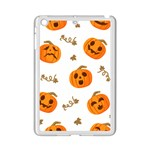 Funny Spooky Halloween Pumpkins Pattern White Orange iPad Mini 2 Enamel Coated Cases Front