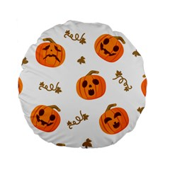 Funny Spooky Halloween Pumpkins Pattern White Orange Standard 15  Premium Round Cushions