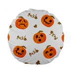 Funny Spooky Halloween Pumpkins Pattern White Orange Standard 15  Premium Round Cushions Front