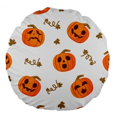 Funny Spooky Halloween Pumpkins Pattern White Orange Large 18  Premium Round Cushions