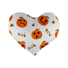 Funny Spooky Halloween Pumpkins Pattern White Orange Standard 16  Premium Heart Shape Cushions