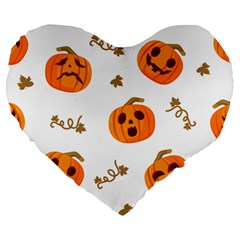 Funny Spooky Halloween Pumpkins Pattern White Orange Large 19  Premium Heart Shape Cushions