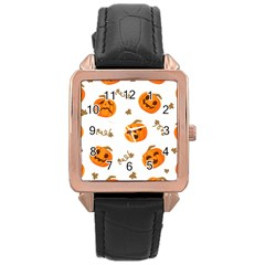 Funny Spooky Halloween Pumpkins Pattern White Orange Rose Gold Leather Watch