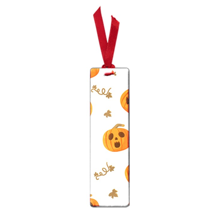 Funny Spooky Halloween Pumpkins Pattern White Orange Small Book Marks