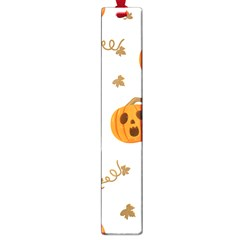 Funny Spooky Halloween Pumpkins Pattern White Orange Large Book Marks