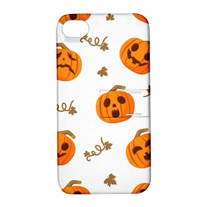 Funny Spooky Halloween Pumpkins Pattern White Orange Apple iPhone 4/4S Hardshell Case with Stand