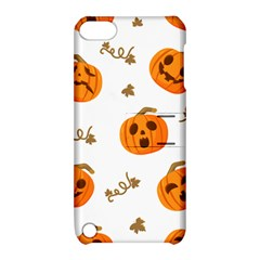 Funny Spooky Halloween Pumpkins Pattern White Orange Apple Ipod Touch 5 Hardshell Case With Stand