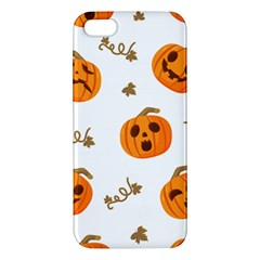 Funny Spooky Halloween Pumpkins Pattern White Orange Apple Iphone 5 Premium Hardshell Case