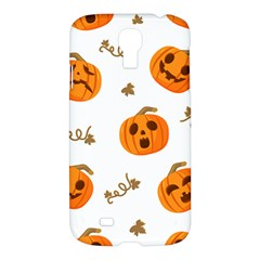 Funny Spooky Halloween Pumpkins Pattern White Orange Samsung Galaxy S4 I9500/i9505 Hardshell Case