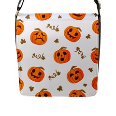 Funny Spooky Halloween Pumpkins Pattern White Orange Flap Closure Messenger Bag (l)