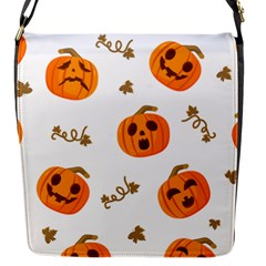 Funny Spooky Halloween Pumpkins Pattern White Orange Flap Closure Messenger Bag (s) by HalloweenParty